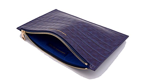 Venturi Pouch Cosmetic Navy Blue Clutch Evening Croc amp; Alexander Bag Leather PATOwAa
