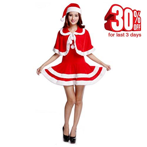 Plus Size Iron Woman Costume (Make you perfect Christmas Costume Girl Dresses 3 Pieces Santa Suit Women Christmas Clothes)