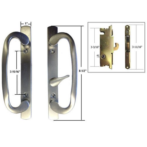 STB Sliding Glass Patio Door Handle Set with Mortise Lock, Brushed Chrome, Non-Keyed, 3-15/16