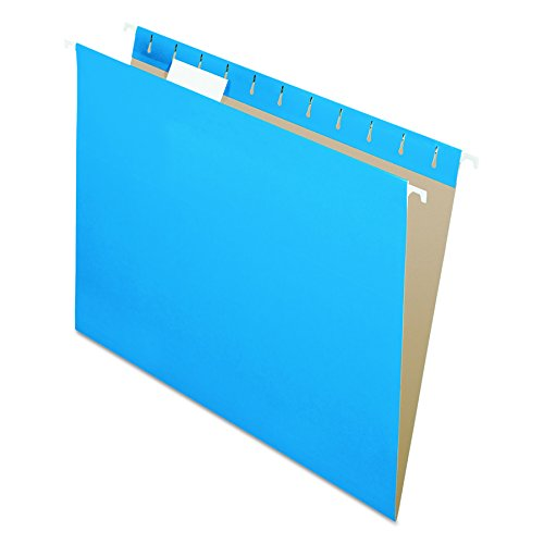 Pendaflex Recycled Hanging Folders, Letter Size, Blue, 1/5 Cut, 25/BX (Pendaflex Colored Hanging)