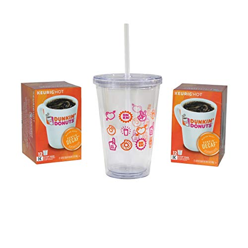 Dunkin' Donuts Gourmet Coffee & Mug Prepackaged Gift Box - Includes Collectable Dunkin' Donuts 16oz Clear Acrylic Tumbler, and Two 12 Pod Boxes of Decaf K Cups