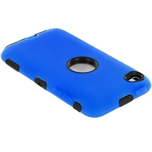 Deluxe Blue 3 part Hard Skin Case Cover compatible with Ipod Touch 4Th Gen