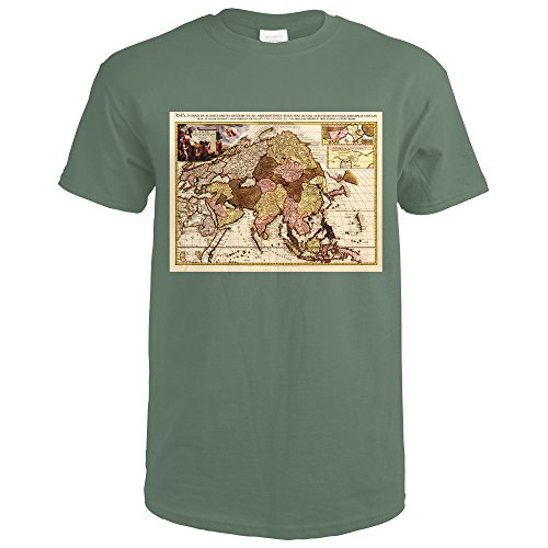 Asia Framed (Asia - Panoramic Map (Military Green T-Shirt Large))