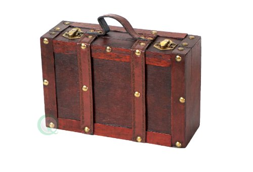 Vintiquewise(TM) Old-Fashioned Small Suitcase/Decorative Box with Straps (Vintage Small Suitcase compare prices)