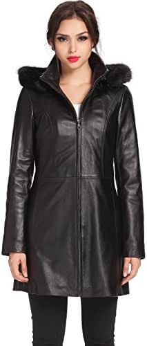 BGSD Women's Irene Lambskin Leather Parka Coat (Regular and Plus Size and Short)
