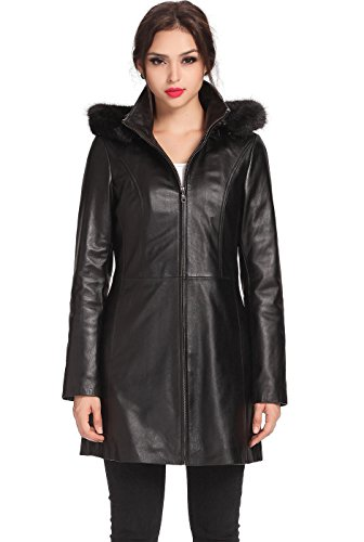 BGSD Women's Irene Hooded Lambskin Leather Parka Coat - L (Hooded Parka Leather)