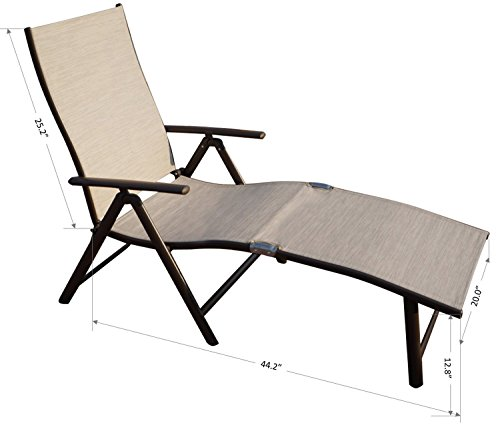Kozyard Cozy Aluminum Beach Yard Pool Folding Reclining Adjustable Chaise Lounge Chair (2, Beige) by Kozyard (Image #5)