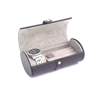 4ba3e1b12 Leather Watch & Cufflink Travel Case - Black Leather - 7W x 2.75H in.,  Black: Amazon.co.uk: Kitchen & Home