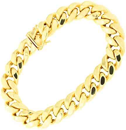 Men's 14k Yellow Gold Lightweight Classic Miami Cuban Chain Necklace or Bracelet with Box Clasp