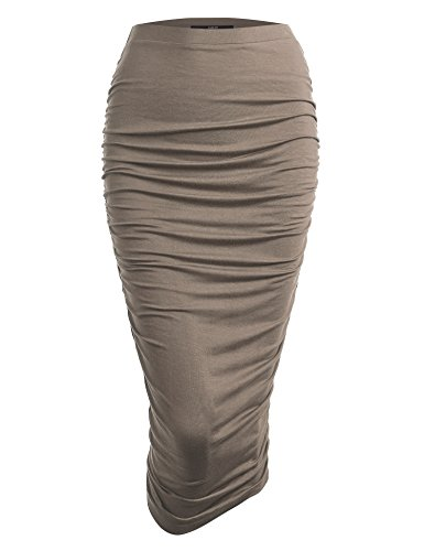 - Made By Johnny WB1147 Womens Elegant High Waist Pencil Skirt with Side Shirring XXL Taupe