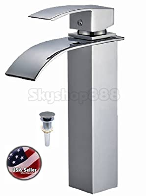 AquaOne Contemporary Tall Single Handle Square Waterfall Style Bathroom Lavatory Vessel Sink Faucet & Pop Up Drain ~Brushed Nickel~