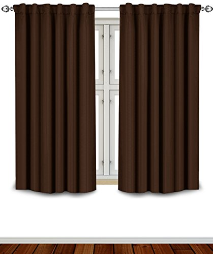 (Utopia Bedding Blackout Room Darkening and Thermal Insulating Window Curtains/Panels/Drapes - 2 Panels Set - 7 Back Loops per Panel - 2 Tie Backs Included (Chocolate, 52 x 63) )
