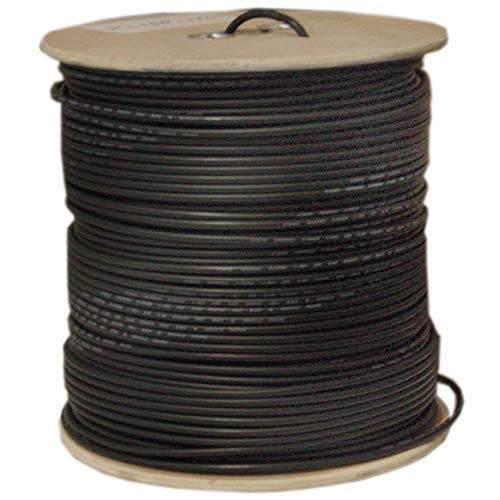 (GOWOS Bulk RG58/AU Coaxial Cable, Black, 20 AWG, Copper Stranded Center Conductor, Braided Shield, Spool, 1000 Foot)