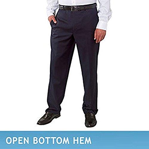 Kirkland Signature Big & Tall - Men's Wool Pleated, Dress Slack Pant, Navy Mini Plaid, Unfinished Hem, Size 48X38 (Dress Hem Slacks)