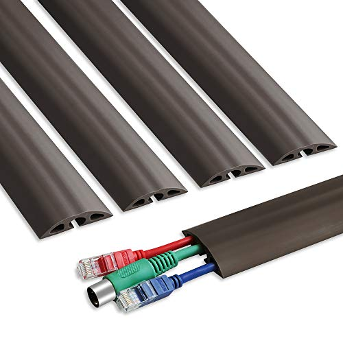 6.5 ft Floor Cable Cover - Straight Cord Protector - Durable Low Profile PVC Duct - Flexible 3 Channel Wire Cover in Workshop, Concerts, Office Home Doorway, 5X L15.6in W2in ()