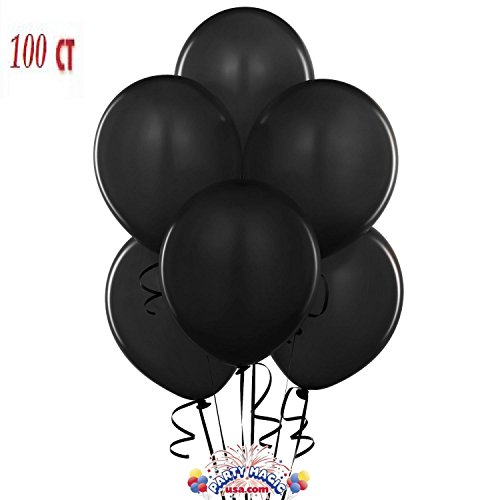 King's Deal 12 Inches Ultra Thickness Latex Balloon 100 Count - (Black) (Black Baloons)