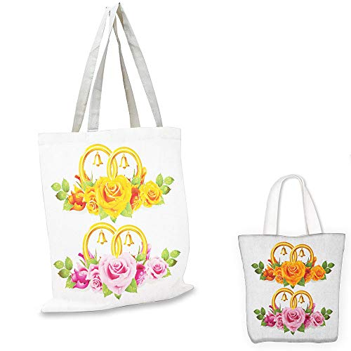 (non woven shopping bag Orange and Pink Bunch of Roses and Rings with Bells Fresh Petals Green Leaves Waterdrips Multicolor bag organizer for)