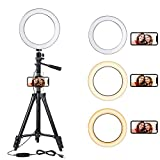 """DCLYSI 6.3"""" LED Selfie Ring Light with Tripod Stand for YouTube Video Shooting and Makeup,Mini LED Camera Light with Cell Phone Holder Desktop Lamp with 3 Light Modes & 11 Brightness Level"""