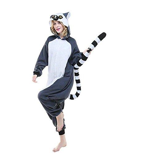[DuolaimiAdult Ring-tailed Lemur Anime Unisex Cartoon Pyjamas Halloween Onesie] (Sexy Halloween Costumes Canada)