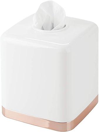 mDesign Dispensador de pañuelos – Práctica caja de pañuelos de plástico para el baño o la oficina –
