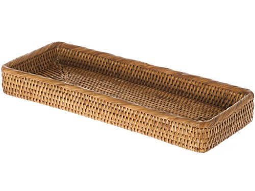 Rattan Honey (Kouboo, La Jolla Handwoven Elongated Rattan Vanity Tray, Honey Brown)