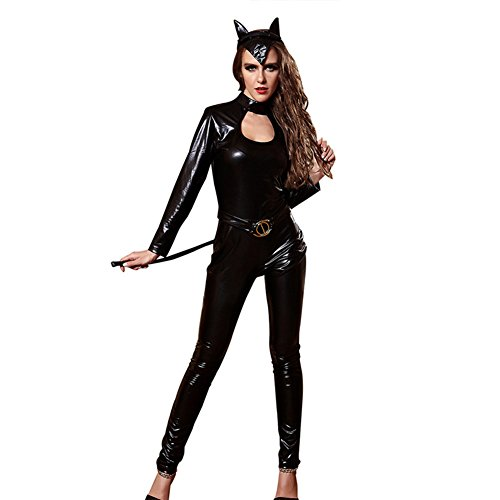 ThinkMax Women Black Faux Leather Catsuit Sexy Shiny Cat Lady Costume Zipper Long Sleeve Bodysuit Club (Patent Troll Costume)