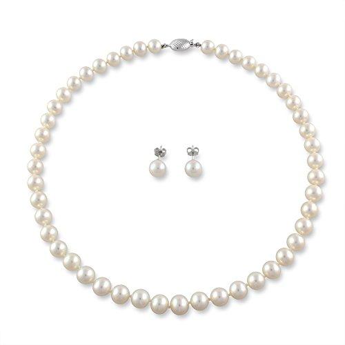 Juego de perla Mikura, de agua dulce blanco mypiercing, de calidad superior w/18ct Gold