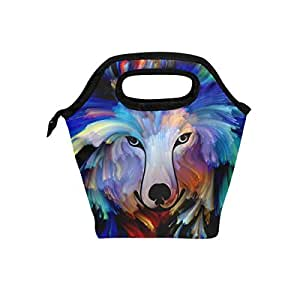 Mydaily Lunch Box Dog Colorful Painting Reusable Insulated School Lunch Bag for Women Kids