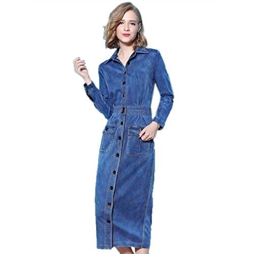 Fit Polo Women`S Casual Slim Neck Denim cotyledon Dress Dresses 1EFRwIq