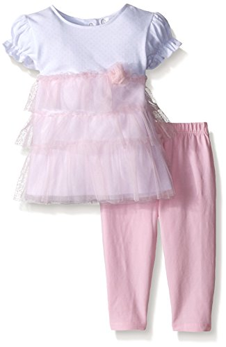Quiltex Baby Girls' Ballet Beauty 2pc Tulle Ruffle Top with Spandex Legging, Pink, 0/3