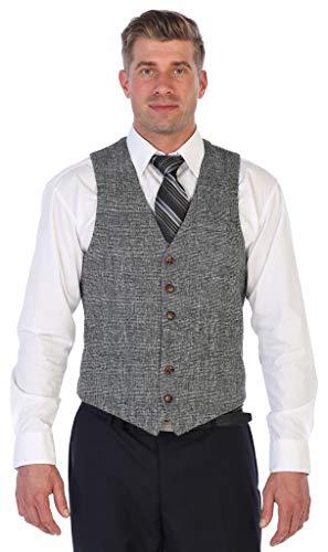 - Gioberti Men's 6 Button Slim Fit Formal Herringbone Tweed Vest, Check Plaid Gray, 2X Large