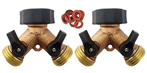 A1001T Heavy Duty Brass Y 2 Way Garden Hose Connector - 2 PACK - 2 Brass 2-Way Splitter 10 Hose Washers (Brass (Two Way Hose Connector)