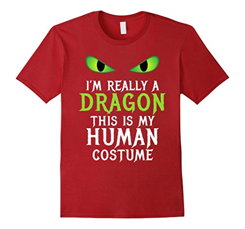 Scary Costumes Female (Mens Funny Scary Dragon Costume Halloween Shirt for Women Men Boy XL Cranberry)