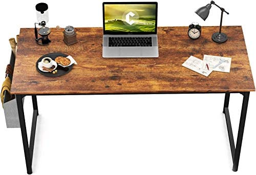 """CubiCubi Study Computer Desk 47"""" Home Office Writing Small Desk, Modern Simple Style PC Table, Black Metal Frame, Rustic Brown"""