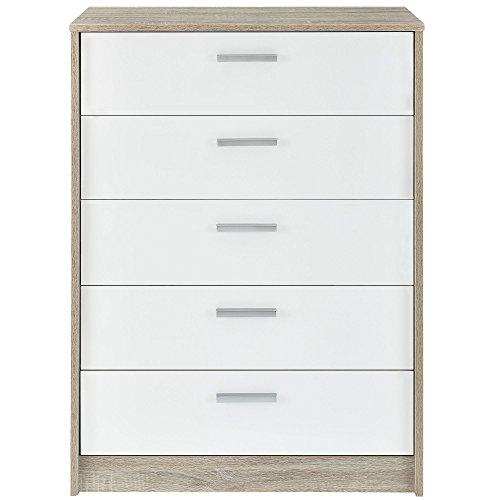 [en.casa] Sideboard Kommode (100 x 70 x 39 cm) furniert (Eiche) Schubladen (weiß - Hochglanz - Klavierlack) Kleiderregal