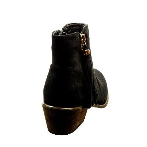 Das Do Mulheres Preta Montaria Tornozelo Angkorly Botas Bobble Salto Alto Calcanhar De Bloco Cm Franja Cavaleiro Sapatos 4 Botas 5 Zipper fqSXxIEx