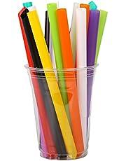 MARIJEE 100 stks Papier Rieten Wegwerp Gekleurde Elleboog Materiaal Rieten Sap Drink Melk Thee Rietjes voor Cocktails Koude Dranken & Sappen