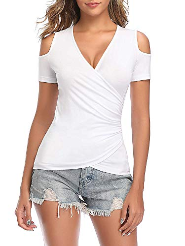 GUBERRY Womens Sexy Tops Short Sleeve Deep V Neck Cross Wrap Fitted Ruched Shirt White