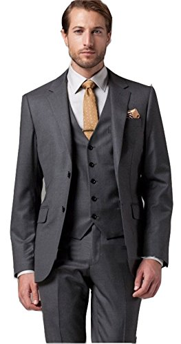 (Brightmenyouth Italian Wool Suit Men Business Suit Two Button Back Vent Dark Grey Three-Piece Suit/Wedding Groom)