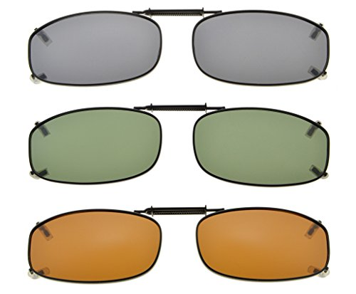 656152a749ad Eyekepper Metal Frame Rim Polarized Lens Clip On Sunglasses 1 7 8 x1 ...