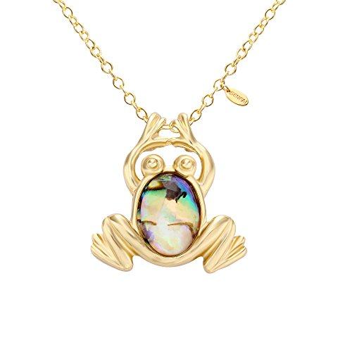SENFAI Abalone Paua Shell Frog Charm Pendant Necklace and Souvenir (Gold)