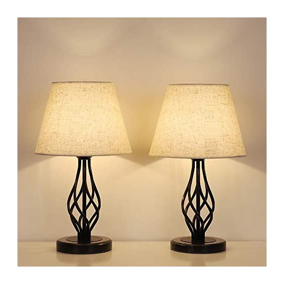HAITRAL Bedside Table Lamps Set of 2 - Vintage Nightstand Lamps with Marble Base & Linen Fabric Shade, Small Desk Lamps for Bedroom, Office, College Dorm, Ideal Gifts, Decor - 💖[ Small Marble Base Lamp ]- Lamp dimension is 16.0 x 6.0 x 5.5 inches, the small base allows for the lamp to fit on tables of any size. These lamps are design of compact and saving-space, it's perfect in living room, bedroom, girls room, den, college dorm, bar, hotel, etc. (Please be clear about the size when you browse) 🏛️[Classic & Elegant Design]- Based on classic style, this nightstand lamps set of 2 are designed especially the black twist flower shape of lamp pole that gives elegant and charming. With a marble base and linen fabric shade promotes a beautiful and minimalist contrast. It's a perfect décor in a beautiful modern house for creating peaceful atmosphere and comfortable lighting ! 🎁[Ideal Home decor & Gift]- The bedside table lamps with fine-quality metal and marble, which won't rust and fade, match linen fabric , making a touch of stylish, never out of date. Good material, pretty look, it is value for price. It is a great stylish gift for housewarming, anniversary, birthday, Christmas etc. - lamps, bedroom-decor, bedroom - 41GE9Oh2jLL. SS570  -