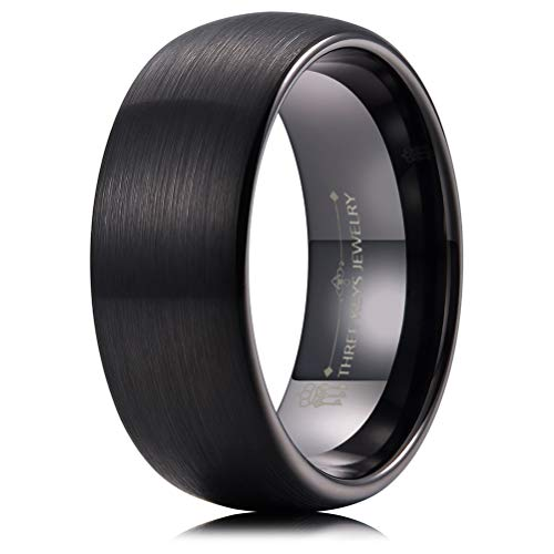 THREE KEYS JEWELRY 8mm Mens Tungsten Wedding Ring Black Plated Brushed Wedding Band Engagement Ring Size 11.5