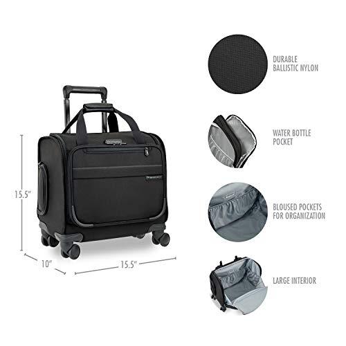 Briggs & Riley Baseline-Softside Cabin Spinner Bag, Black, Underseater 16-Inch