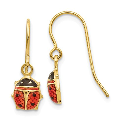 7mm Enameled Ladybug Dangle Earrings in 14k Yellow - Polished Ladybug Enameled