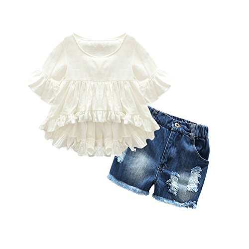 xirubaby Shinny Girls 2 Piece Cotton Flounced Sleeve Shirt+Ripped Jeans Girls Summer Suit Set(2t,White) by xirubaby