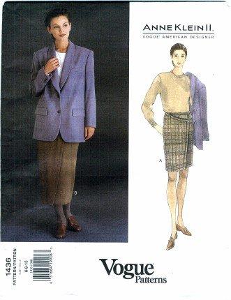 Vogue 1436 Sewing Pattern American Designer Anne Klein II Misses Jacket Mock Wrap Skirt Suit Size 6 - 8 - (Uncut Vogue Sewing Pattern)