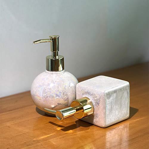 WWWRL Hand Sanitizer Bottle, Manual Soap Dispenser Pump, Emulsion Container, Square/Round - Ceramic - 250ml