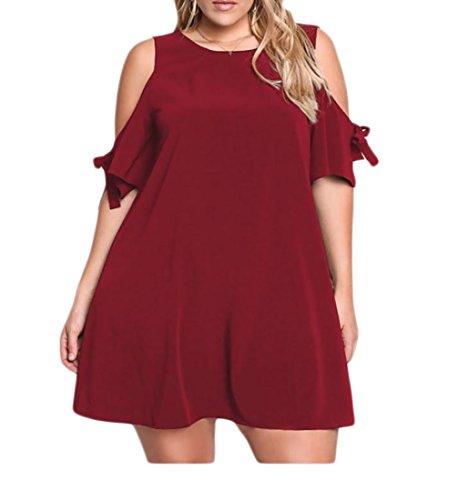 Coolred-femmes, Plus La Taille Vogue Épaule Froid T-shirts Mini Robe De Soirée Vin Rouge