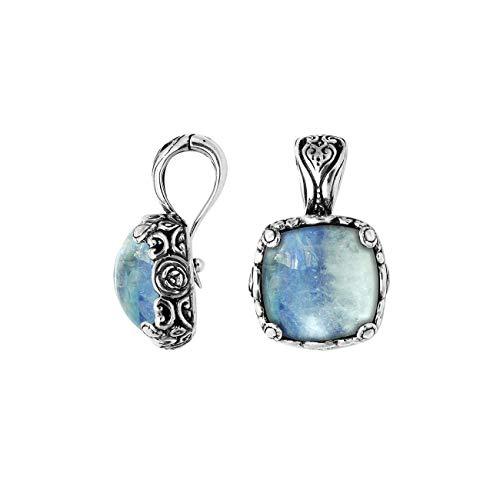 Bali Designs Sterling Silver Pendant with Rainbow Moonstone & Enhancer Pendant Bail AP-6227-RM